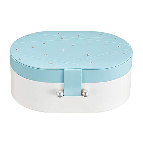 Small Travel Jewelry Box, Double-layer Portable Mini Organizer Display Storage Case, For Rings Earrings Necklace Choice For Girls Women Jewelry Box (Pink,Blue)