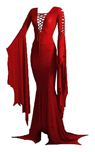 RRUUGK Bodenkleid Kostüm Hexe Sexy Gothic Retro Kleid Halloween Carnival Party Cosplay Kostüm (Farbe : Red, Size : S)