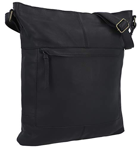 Gusti Handtasche Leder - Maola Ledertasche Umhängetasche Laptoptasche Schwarz Leder Damen