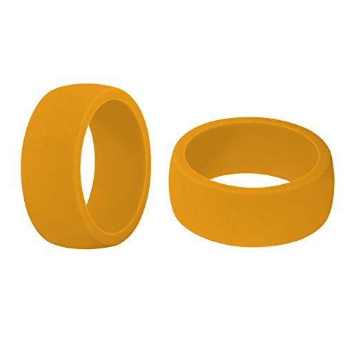 (Prix/6 pièces) Gogo Premium pour homme – Alliance en silicone – 8,7 mm de large (2 mm d'épaisseur) – 10 couleurs – Super léger et confortable lisse Edge – Idéal pour salle de sport, Orange