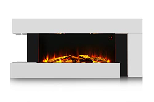 HomeZone® Modern Unique 55' White Wall Mounted Electric Fireplace Realistic LED Flame Effect Electric Fire with Wood Log Burner. 220/240V 1000/2000W 7 Day 24hr Timer and Remote Control.