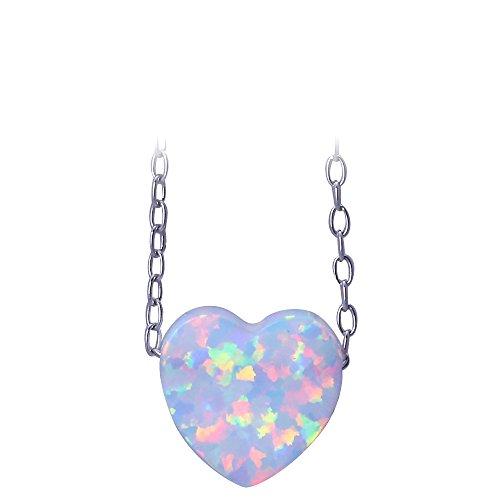 925plata de ley Collar colgante en forma de corazón blanco Fire Opal para las mujeres ops739