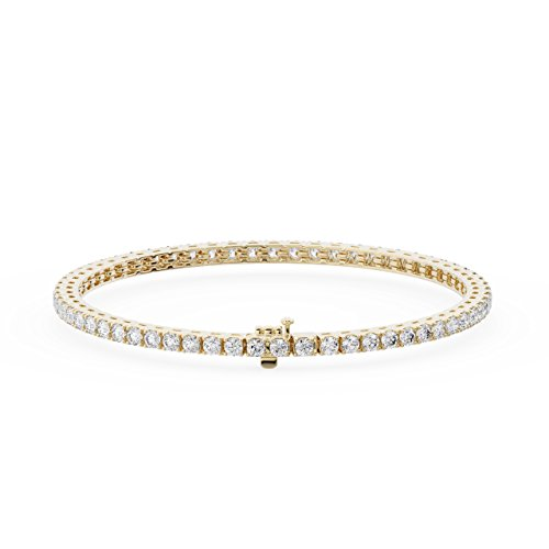 Bracciale tennis con diamanti taglio brillante da 2,50 carati, disponibile in metallo oro bianco e giallo 9 kt, punzonato da Assay Office London. e Oro giallo, cod. FTB0164(2.20MM)