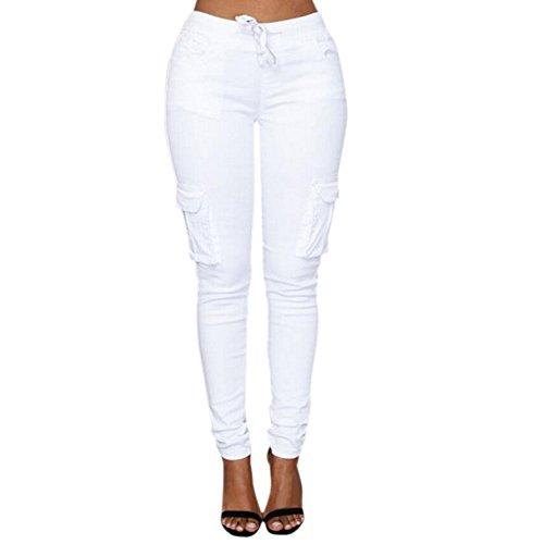 LAEMILIA Damen Stretch Beiläufig Skinny Hose Freizeithose in Khaki, Grün,Weiß (EU 38, Weiß)