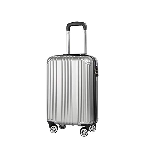 COOLIFE Lightweight 55cm Hard Shell 4 Wheel Travel Carry On Hand Cabin Luggage Suitcase with TSA Lock Approved for easyJet British Airways Ryanair ((Silver, S(55cm 38L)_Carry-on)