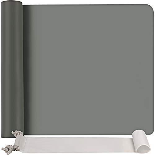 FANDAMEI Silikonmatte 60x40 cm Grau, Silikonfolie Bastelmatte Silikon Unterlage Antihafte rutschfeste Tischmatte Arbeitsmatte Thekenmatte mit Aufbewahrungsbeutel, für Handwerk, DIY Zubehöre