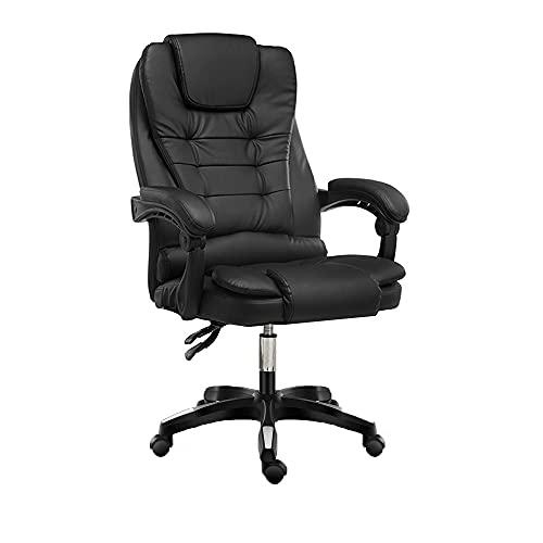 KaminHome - Silla Oficina ZOE sillón despacho eléctrica Masaje reclinable giratoria elevación Asiento Respaldo reposabrazo ergonómica (Negro)