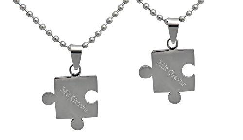 Hanessa Gravierte Puzzle Kette mit Wunsch Gravur Partner-ketten aus Edelstahl in silber Puzzle-Teil Anhänger Geschenk Schmuck für Paare Mann und Frau