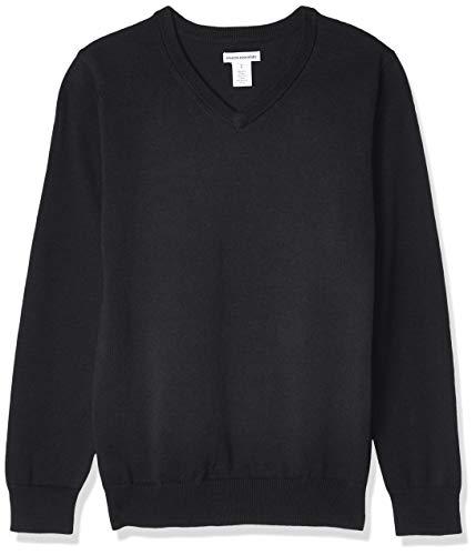Amazon Essentials Kids Boys Uniform Cotton V-Neck Sweaters, Black, Medium