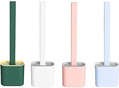 CHTH 4 paquetes de cepillos de silicona flexibles con soporte, mango largo antideslizante, soporte de pie con soporte para cabeza de cepillo, mango antideslizante
