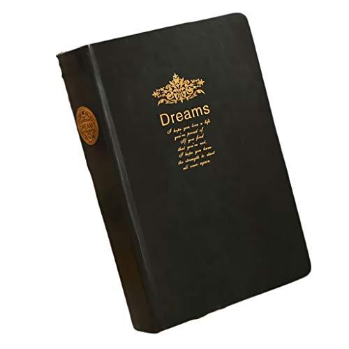Quaderni da scrittura Taccuino in similpelle nera - Manuale più spesso Libro dei record del diario letterario dorato Blocchi appunti e taccuini diari