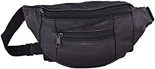 چرم Liberty - مشکی - کیف کمر چرمی گوسفند اصل و جمع و جور Nappa | بسته کوچک چند جیب فانی برای استفاده در فضای باز و مسافرت | بسته بند آستین قابل تنظیم مردانه و زنانه برای پیاده روی ، پیاده روی ، دوچرخه سواری ، مد