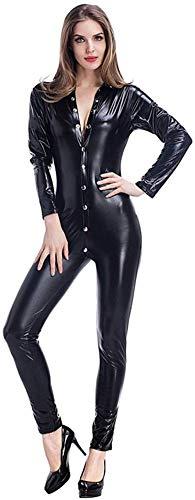 RLYJZ Erotische Dessous Erotische Kleidung Verdeckte Siamesische Lederhose Aus Lackleder Sexy Schwarzer Motorradanzug,OneSize-Black