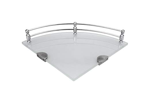 Ara India Premium Glass Corner Shelf, Bathroom Shelf and Shelves, Bathroom Accessories, Color - Frosted, Size - 9 x 9 Inches, Pack of 3 Pcs.