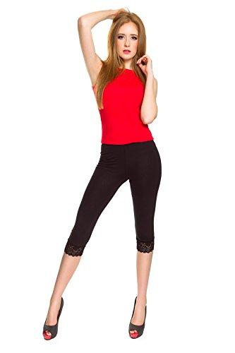 SOFTSAIL Damen Capri-Leggings mit Spitzeneinsatz, 3/4 Stretchhose, Baumwolle, Größen 36-54 Gr. 48, Schwarz