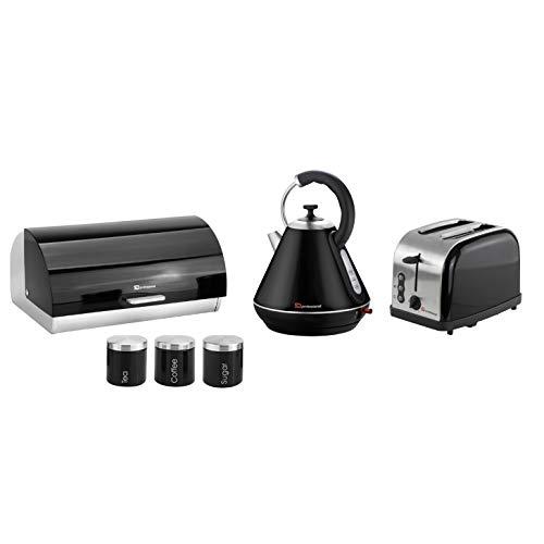 Geschenkset bestehend aus: Wasserkocher, Brotkasten, 3 Dosen und Toaster in lila, schwarz, silber oder rot 28 x 23 x 22.8 cm Schwarz