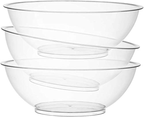 Set of 3   10-inch Vista Plastic Serving bowls, Salad and Snack Bowl, for Side Dishes, Round