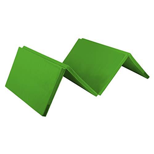 ALPIDEX Klappbare Gymnastikmatte Turnmatte für zuhause 240 x 120 x 5 cm für Kinder und Erwachsene - mit Klettecken, 3fach klappbar, Farbe:grün