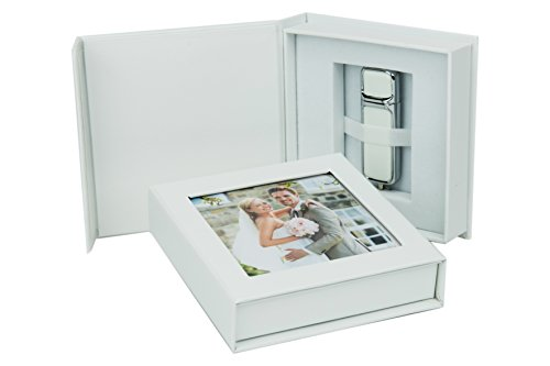 Elegantdisk Caja USB con ventana para fotos, color blanco