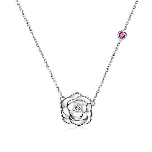 FANCIME 925 Sterling Silber Kette mit Zirkonia, Rose Blume Halskette Weißgold Plattiert, Schmuck Geschenk für Damen Mädchen Mutter, 40 + 5cm