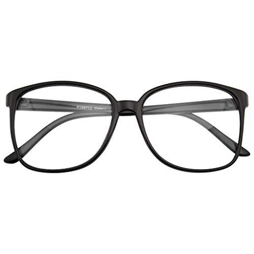 Emblem Eyewear - Occhiale Da Vista Oversize Con Montatura Corno Di Grandi Dimensioni (Nero)