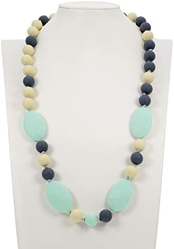 TUXEPOC Baby Teething Necklace for Mom to Wear Silicone Nursing Chewable Beads Teether Toys product image