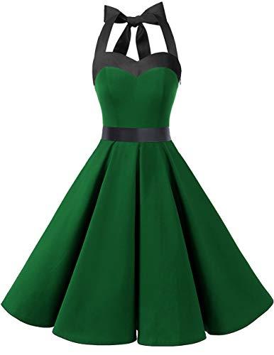 DRESSTELLS Damen Neckholder 1950er Vintage Retro Rockabilly Kleider Petticoat Faltenrock Cocktail Festliche Kleider Green Black M