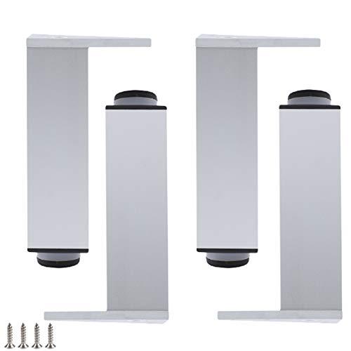 4 Piezas Pies Para Muebles de AleacióN Aluminio,Patas para Muebles de Metal,Cuadrado Pierna para Sofá,Plata Patas para Cama,Patas para Mesa,Ajustable 0-10mm(20cm/7.9in)