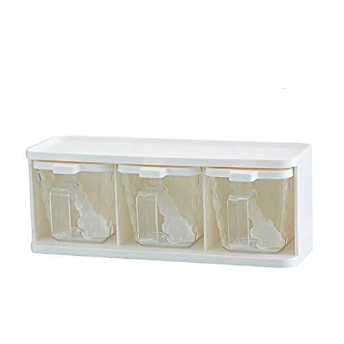 SMEJS Würzen Box - Kunststoff Gewürzflasche Küche Zubehör Gewürz Box Salz Zucker Bowl MSG Gewürz-Behälter Set (Size : 3 divisions)