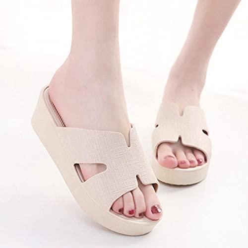 WUHUI Zapatillas Antideslizantes para Mujeres, Zapatillas de Playa de baño Gruesas de Verano para Mujer, Tea_38, Chanclas de baño para Mujer
