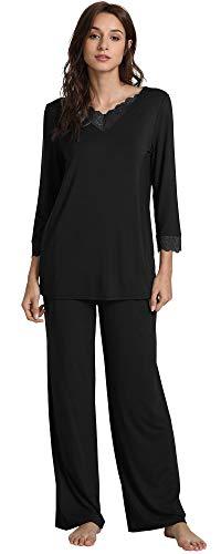 GYS Women's Long Sleeve Sleepwear Bamboo Pajama Pants Set, Black, Large