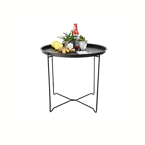 Mesa plegable portátil al aire libre Bandeja simple y moderna Mesa de café plegable de metal Sofá lateral de café redondo mesa de café dormitorio baño balcón y oficina Mesas de campo de picnic