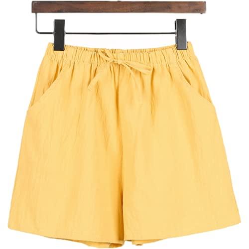 Pantalones Cortos para Mujer Primavera y Verano Color sólido Simple Cintura elástica Recta Suelta Pantalones Cortos Casuales de Talla Grande XL
