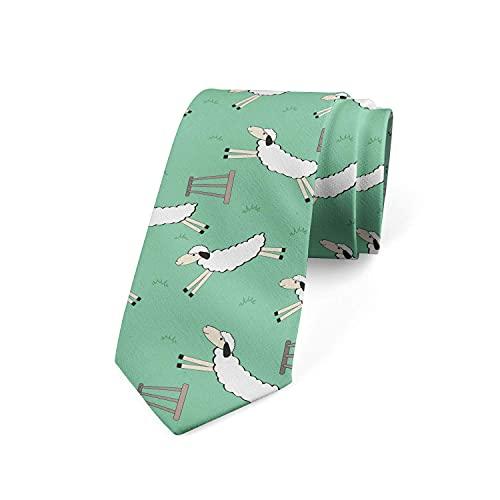 Tcerlcir Cravate Pour Hommes Cravate Mouton D'Animaux Moelleux Sautant Par-Dessus Une Clôture Cravate En Polyester Doux Pour Tenues De Soirée, Mariages, Bal De Promo, Célébration,...