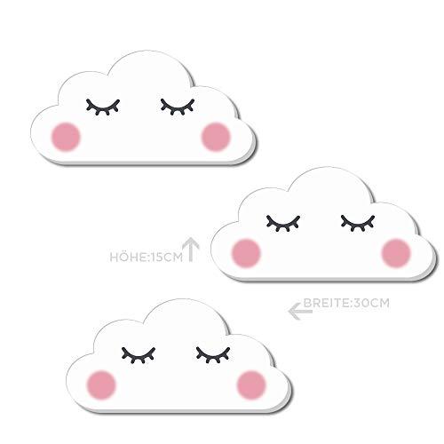 Kindsblick 3er Set XL Wandsticker Wolken Sleepy Eyes in Weiß - Wunderschönes Wandtattoo mit 3D-Effekt - Wandaufkleber für Kinderzimmer - Maße (30 x 15 cm)