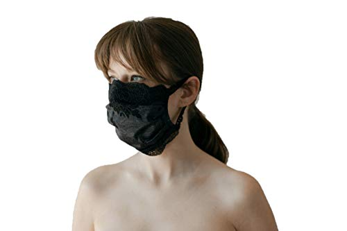 CHANTY Maske aus Spitze - Waschbar - 2-Lagig - Lace Mask Winded Leaves - One Size - Made in Germany (Shiny Black)
