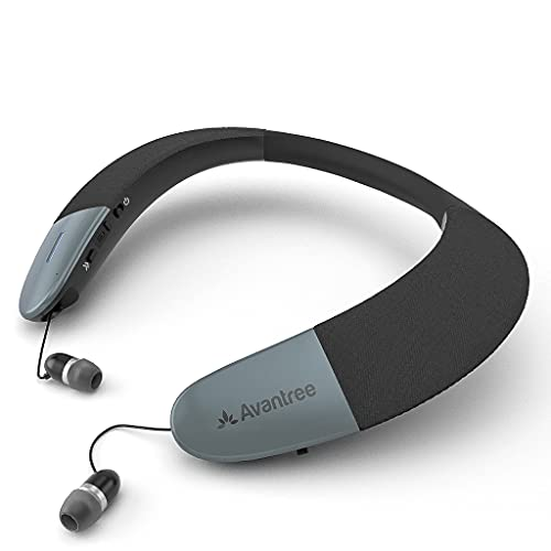 Avantree Torus Wearable Wireless Neck Speaker, Bluetooth 5.0, aptX HD, Low Latency, Personal Neckband Speakers with Retractable Earbuds, Superb Audio Quality, 3D Surround Stereo for Music TV (NB05)