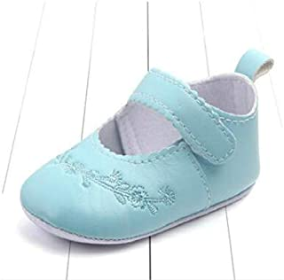 HMG Baby Girl First Walkers PU Cuir Mignon Chaussures Princesse Crib, Taille: 11cm (Bleu Clair) (Color : Light Blue)