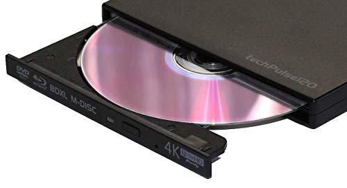 techPulse120 portables USB 3.0 4K UHD 3D M-Disc BDXL HDR10 Laufwerk Blu-ray Brenner Burner Superdrive Ultra-Slim BD DVD CD für Netbook Notebook Ultrabook Windows Mac OS Apple iMAC MacBook Schwarz
