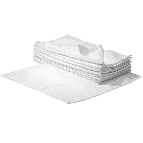 S&S-Shop 10 Mikrofasertücher | 30 x 30 cm | Weiß | waschbar - weich | Microfasertücher Mikrofaser Tuch Reinigungstücher Auto polieren Putztücher | Haushaltstücher