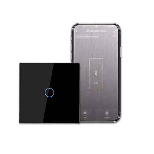 CNBINGO Interruptor de luz Wi-Fi, interruptor táctil inteligente, funciona con Alexa/Google Home, panel táctil de cristal y LED de estado, 1 compartimento de 1 polo, color negro.