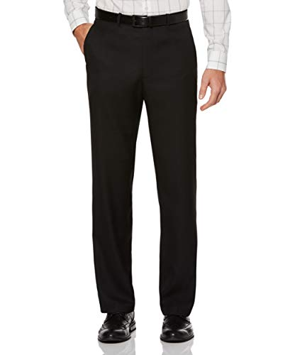 Perry Ellis Men's Portfolio Classic Fit Flat Front Folio Flex Waistband Sharkskin Pant, Black Ice, 34x30