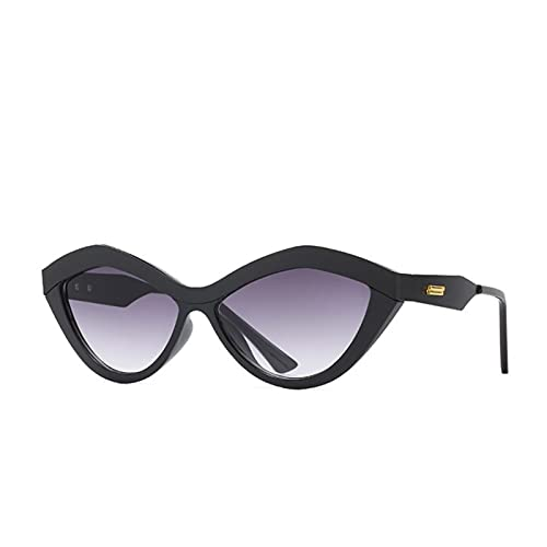 Retro Metal Beam Sexy Gafas De Sol Mujeres Marca Gato Ojo Gafas De Sol Vintage Frame Destaced Mirror Shades Hombre Oculos Feminino (Lenses Color : Black Double Grey)