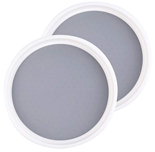 Lawei 2 Pack Pantry Cabinet Lazy Susan Turntable - 10 Inch Non-slip Lining Kitchen Storage Turntable for Cabinet, Pantry, Refrigerator, Countertop - Spinning Organizer for Spices, Condiments, Baking