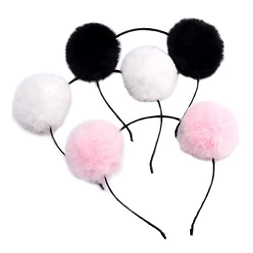 3 diademas de pompón peludas esponjosas con doble pompón, diadema de orejas de animales, diadema con pompón, diadema para cosplay, fiesta, cumpleaños, Halloween