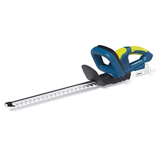 Hoberg Akku Heckenschere, 20 V System (ohne Akku & Ladestation), Schnittlänge 51cm, Zahnabstand 14mm, nur 2,5kg, Sicherheitsschalter, Messerschutzhülle