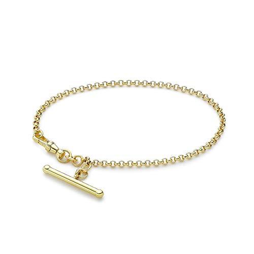 Carissima Gold Pulsera con Barra en'T' de 25,5mm x 3mm para Mujer en Oro Amarillo 9K (375), Cadena Rolo Hueca con Cierre Mosquetón - 19cm/7,5'