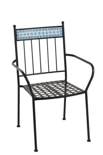 J-line Chaise mosaïque en métal et céramique Bleu