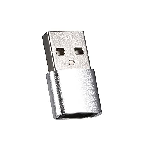 skrskr Adaptador Tipo C a USB Adaptador USB 2.0 Adaptador de transmisión de Alta Velocidad Adaptador de Carcasa de aleación de Aluminio para computadora Cargador de teléfono Plata