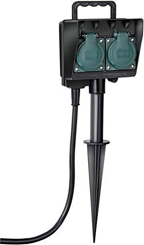 Brennenstuhl Garten-Steckdose / Außensteckdose 2-fach mit Erdspieß (witterungsbeständiger Kunststoff, Steckdose für außen mit wasserfestem Gehäuse, 1,4m Kabel) schwarz
